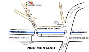 Croquis ubicación de huertos urbanos ecológicos en Sevilla - Helgar